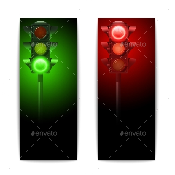 Traffic Lights Banners - Objects Vectors