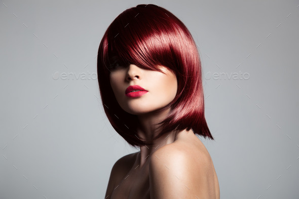 Beautiful Red Hair Model With Perfect Glossy Hair.  - Stock Photo - Images