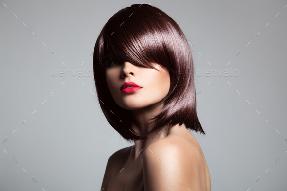 Beautiful Model With Perfect Glossy Brown Hair. - Stock Photo - Images