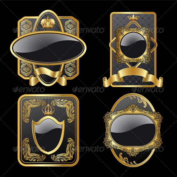 Set from gold labels - Decorative Symbols Decorative