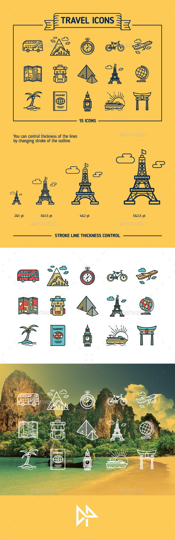 Travel, Outline & Colored Icons - Travel Conceptual