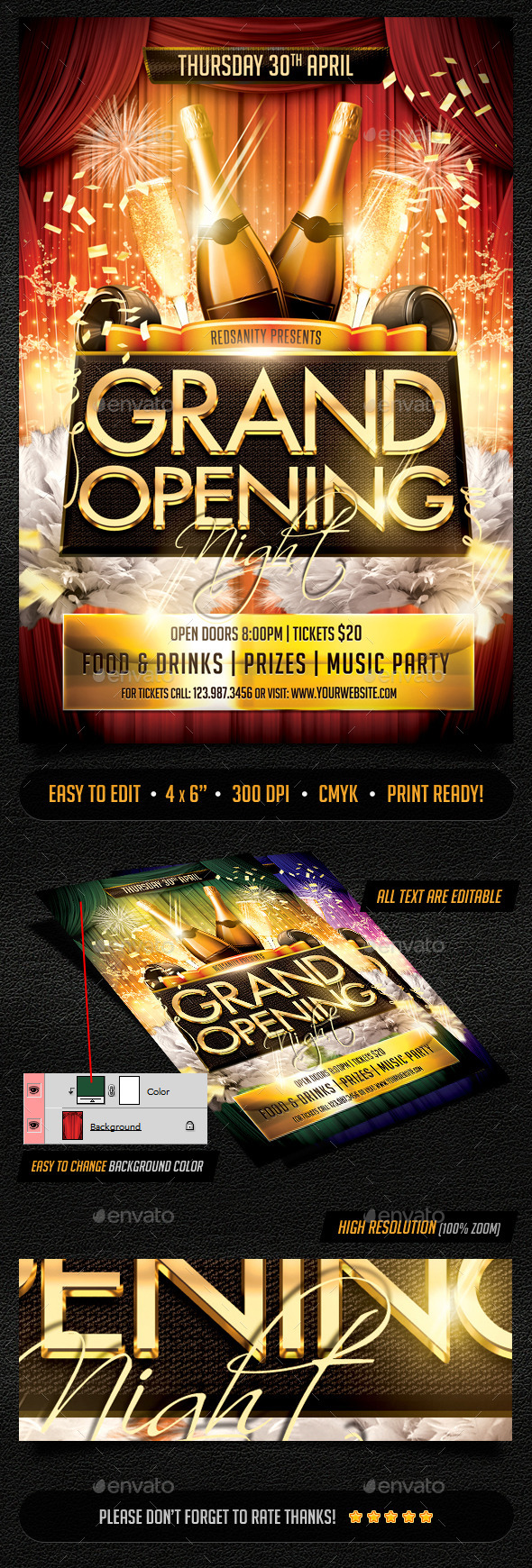 Grand Opening Night Flyer by Redsanity | GraphicRiver