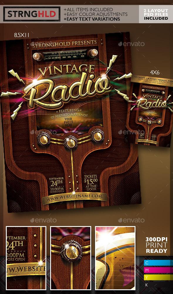 Vintage Radio Event Flyer  - Flyers Print Templates