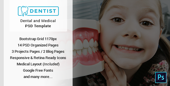 Dentist - Dental & Medical One Page PSD Template - Corporate PSD Templates