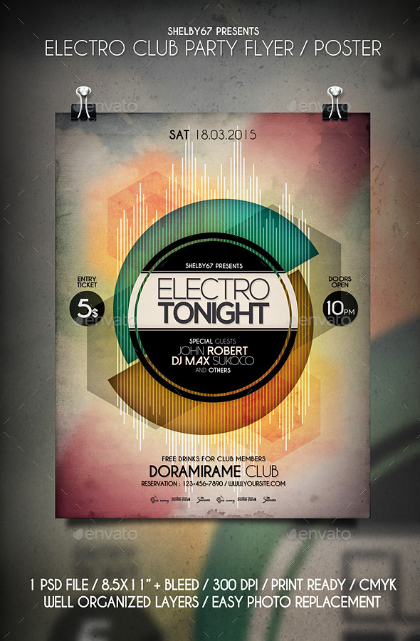 Electro Club Party Flyer Templates - Events Flyers