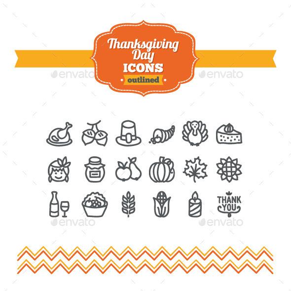 Hand Drawn Thanksgiving Day Icons - Seasonal Icons