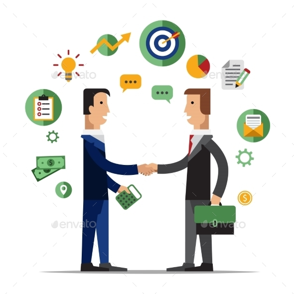 Successful Partnership - People Characters