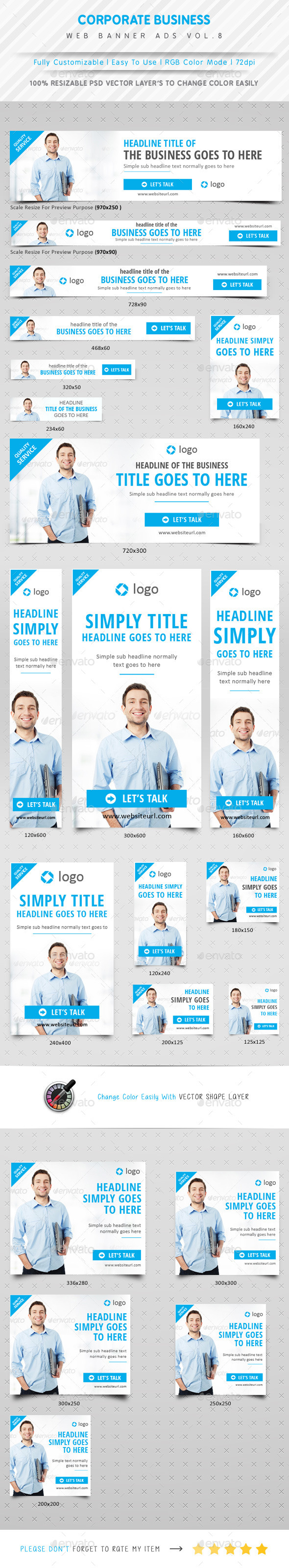 Corporate Business Web Ads Vol.8 - Banners & Ads Web Elements