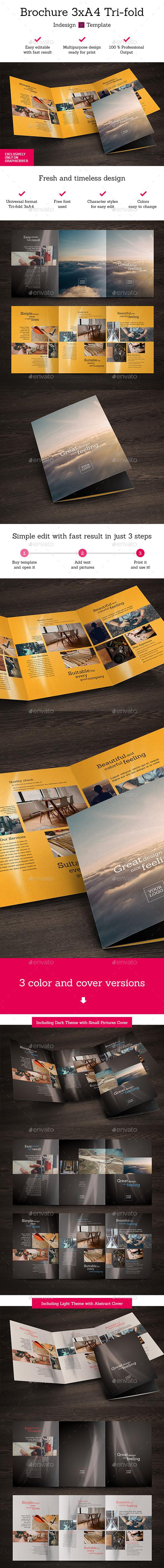 Brochure 3xA4 Tri-fold Indesign Template Set - Brochures Print Templates