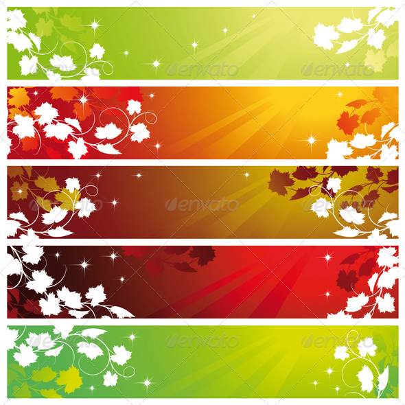 Banners with vine - Backgrounds Decorative
