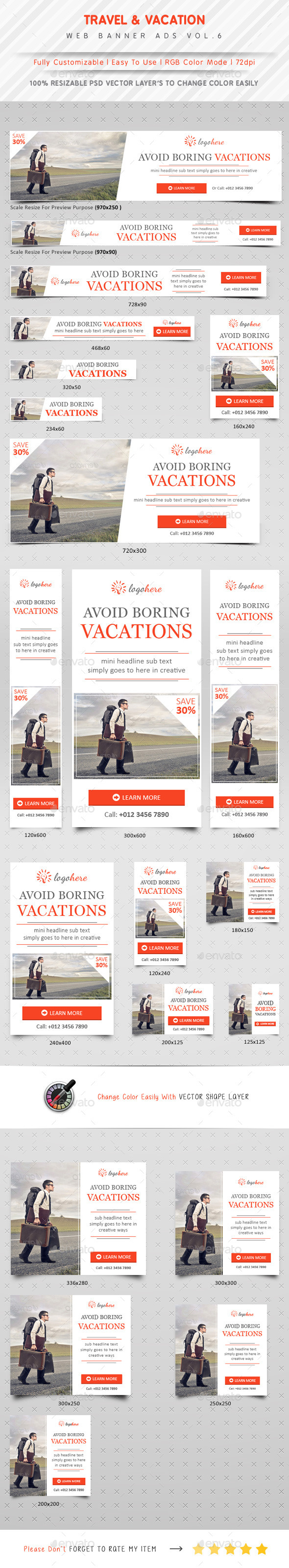 Vacation & Travel Agency Ads Vol.6 - Banners & Ads Web Elements