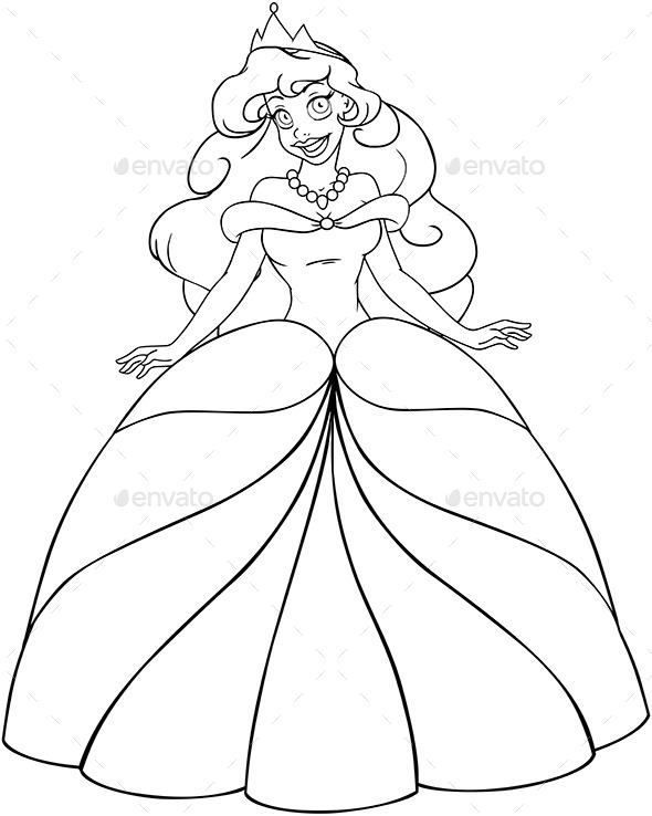 Regular Princess Coloring Pages : African princess coloring page by lironpeer graphicriver