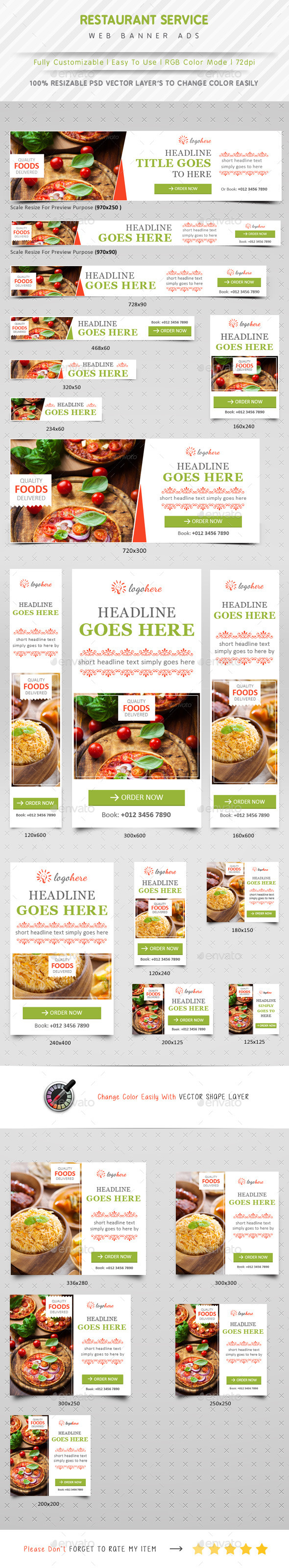 Restaurant Service Web Banner Ads - Banners & Ads Web Elements