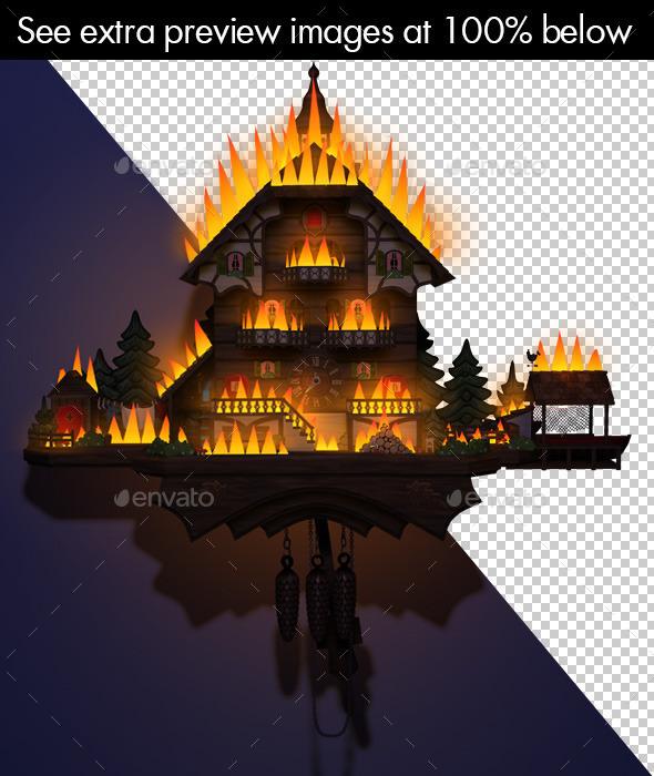 Cuckoo Clock Burning Illustration - Scenes Illustrations