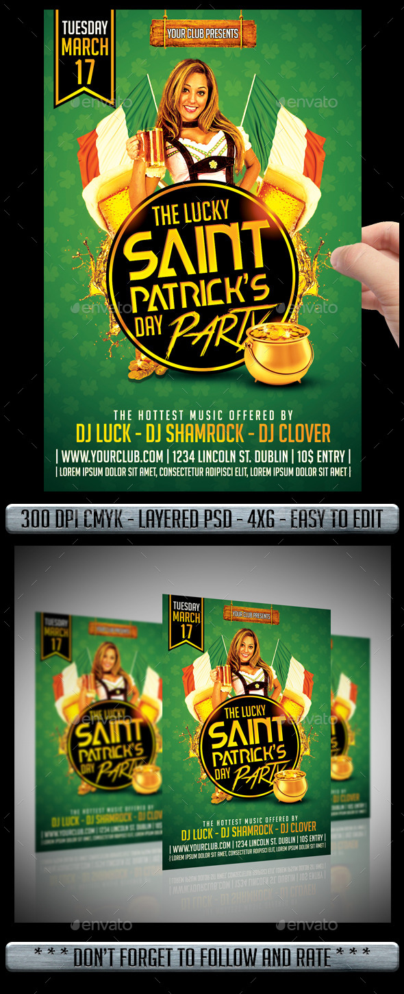 Saint Patricks Flyer - Clubs & Parties Events