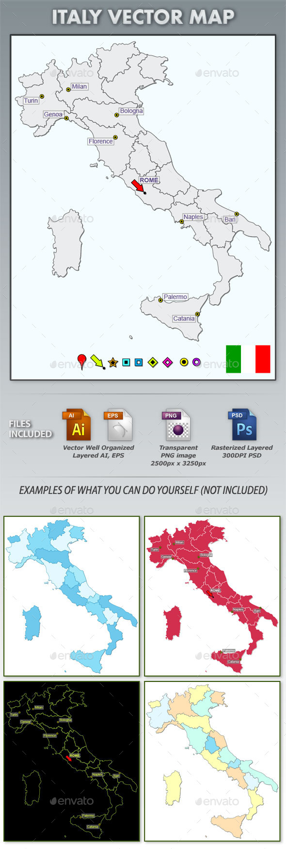 Italy Layered Map - Web Elements Vectors