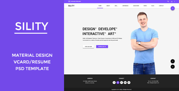 Sility - Material Design Vcard & CV PSD Template - Virtual Business Card Personal