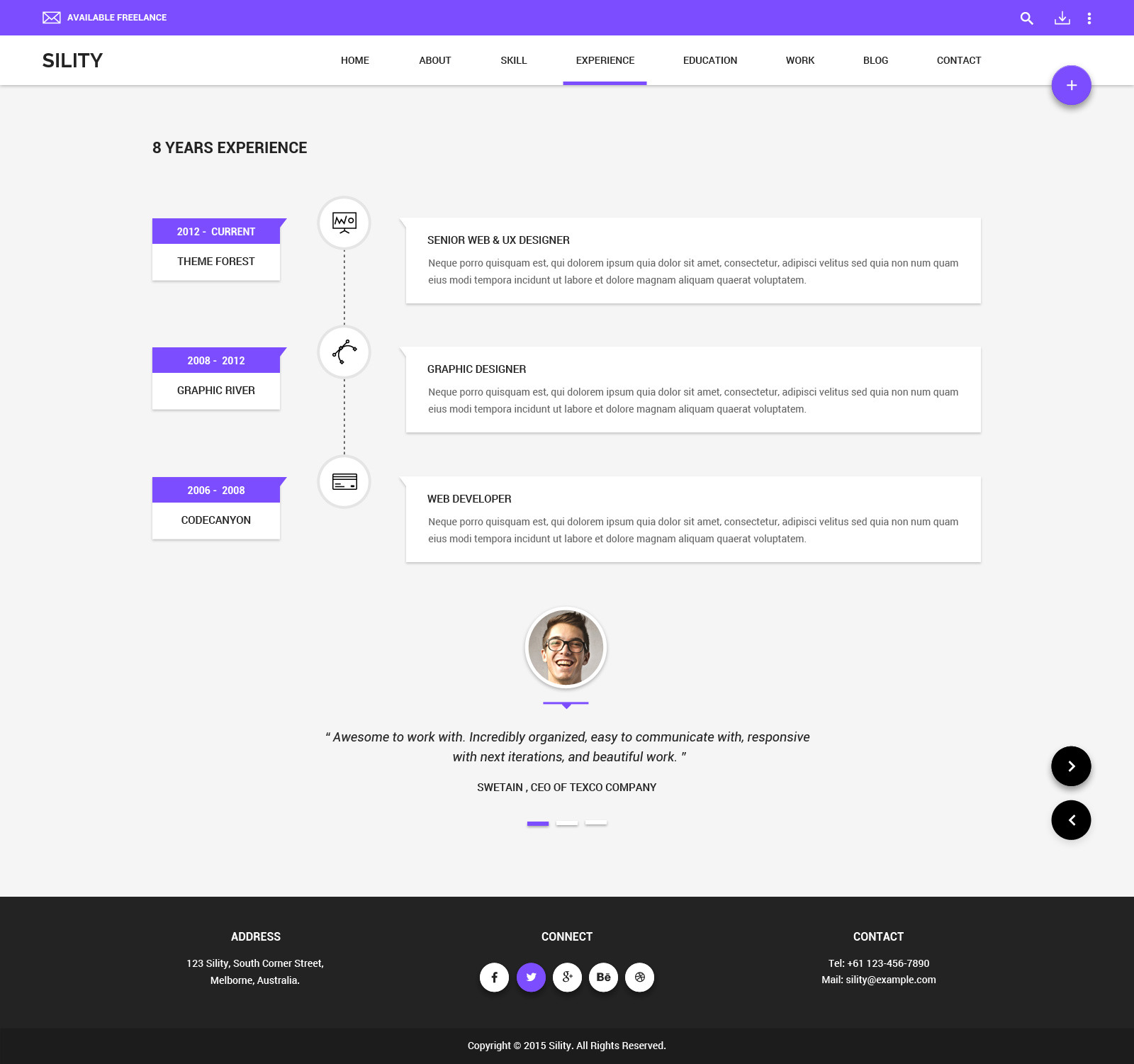 Sility Material Design Vcard Amp Cv Psd Template By