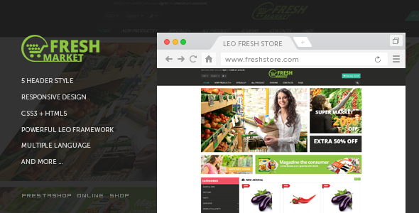 Leo Fresh Store - advanced Prestashop 1.7 theme for Food | restaurant| Fruit - Health & Beauty PrestaShop
