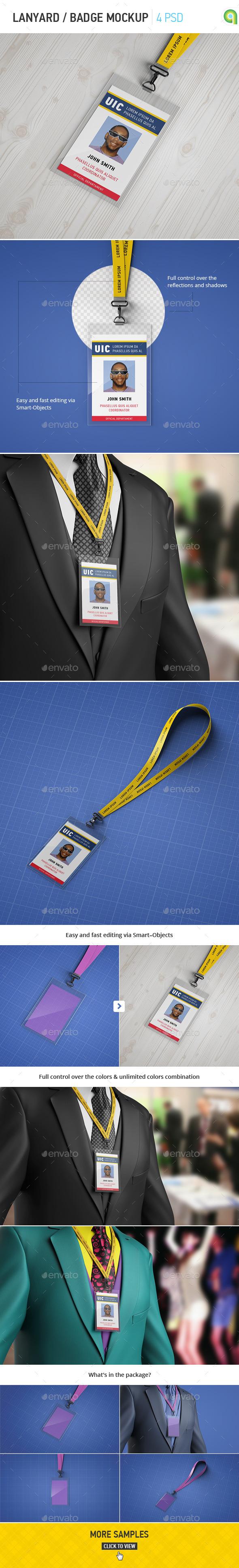 Lanyard / Badge Mockup - Stationery Print