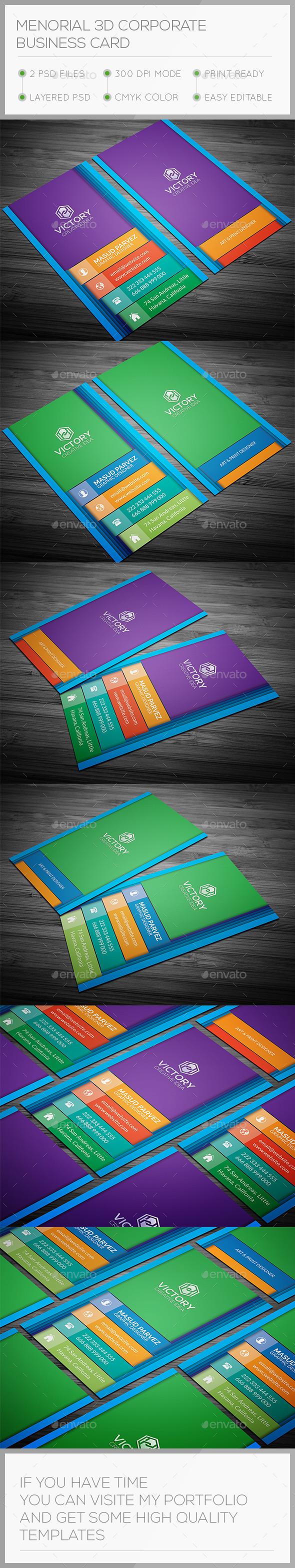 Menorial 3D Corporate Business Card - Creative Business Cards