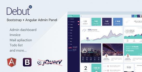 debut ui kit angularjs admin dashboard template by ozlanski themeforest. Black Bedroom Furniture Sets. Home Design Ideas