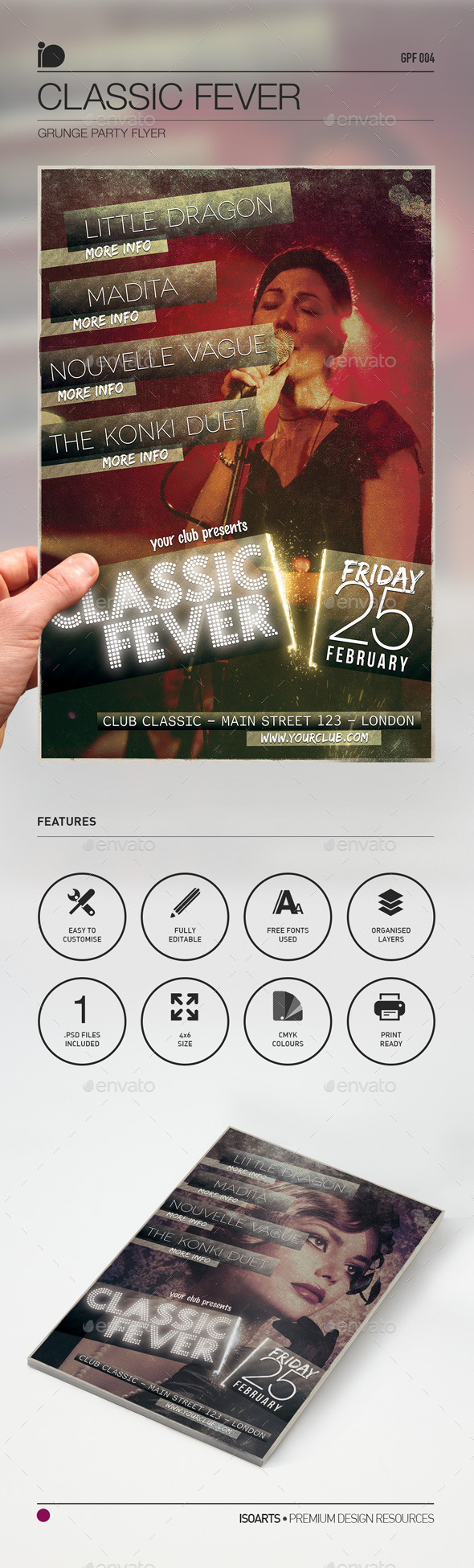 Grunge Party Flyer • Classic Fever - Clubs & Parties Events