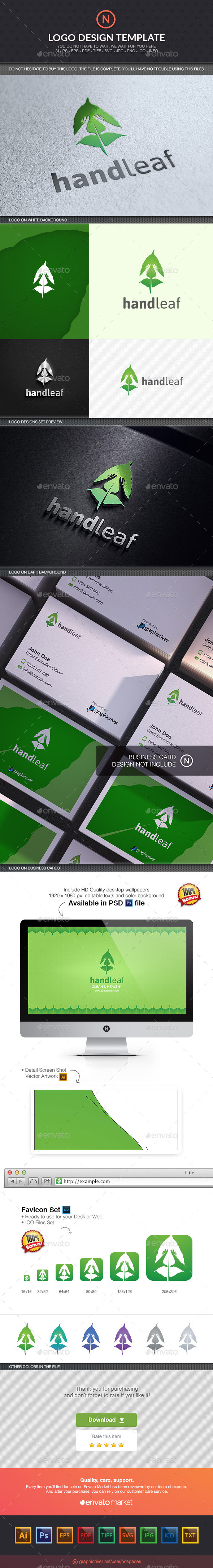 Hand and Leaf - Nature Logo Templates