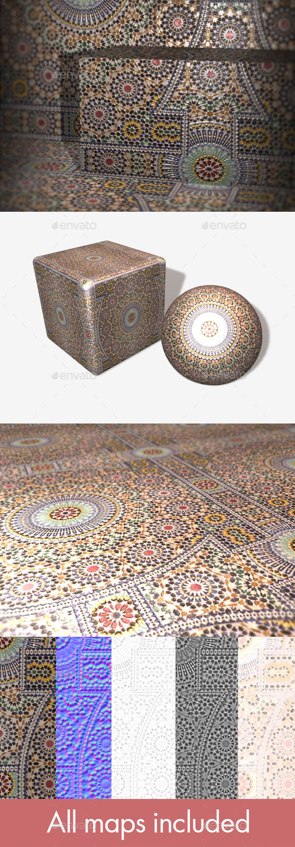 Moroccan Tiles Seamless Texture - 3DOcean Item for Sale