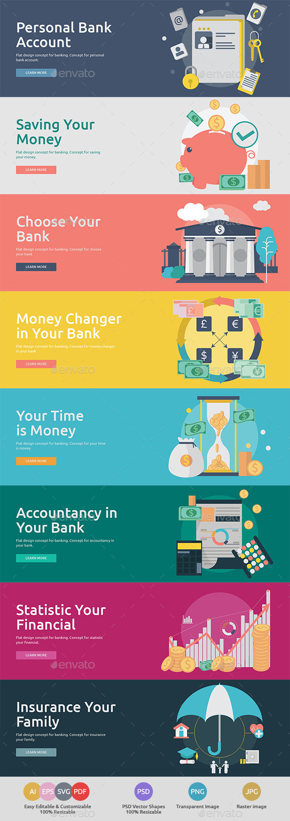 Flat Concept Banners for Finance - Business Conceptual