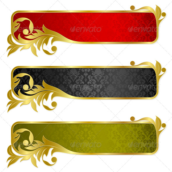 Set from gold banners - Backgrounds Decorative