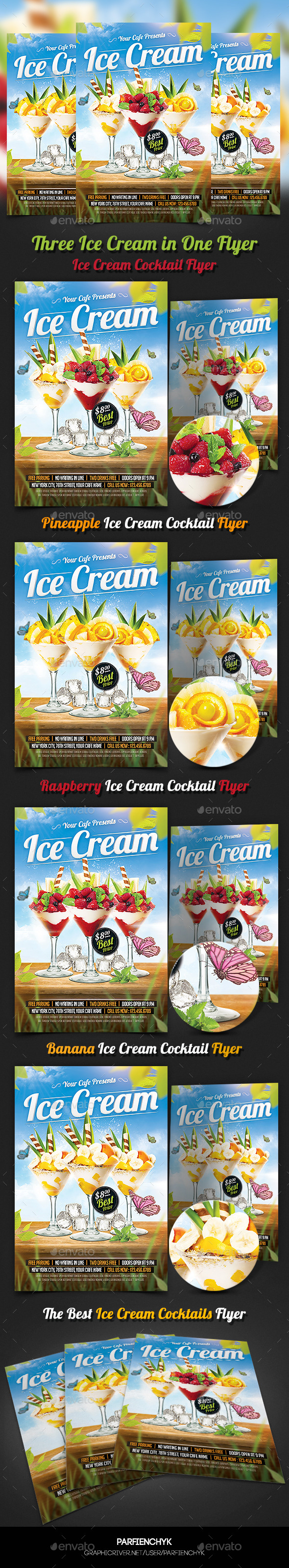 Ice Cream Cocktails Party Flyer Template - Clubs & Parties Events