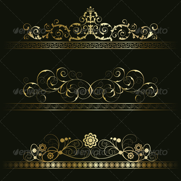Set from retro frames - Borders Decorative