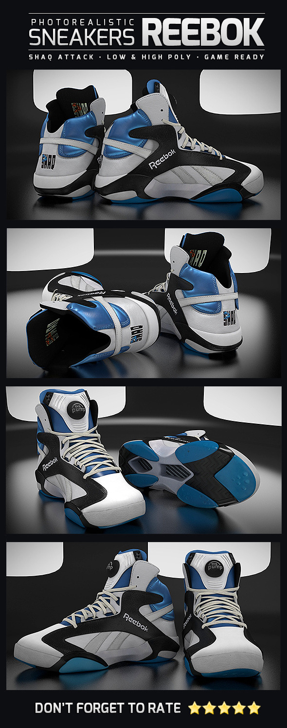 Sneakers Reebok Shaq Attack - Photorealistic - 3DOcean Item for Sale