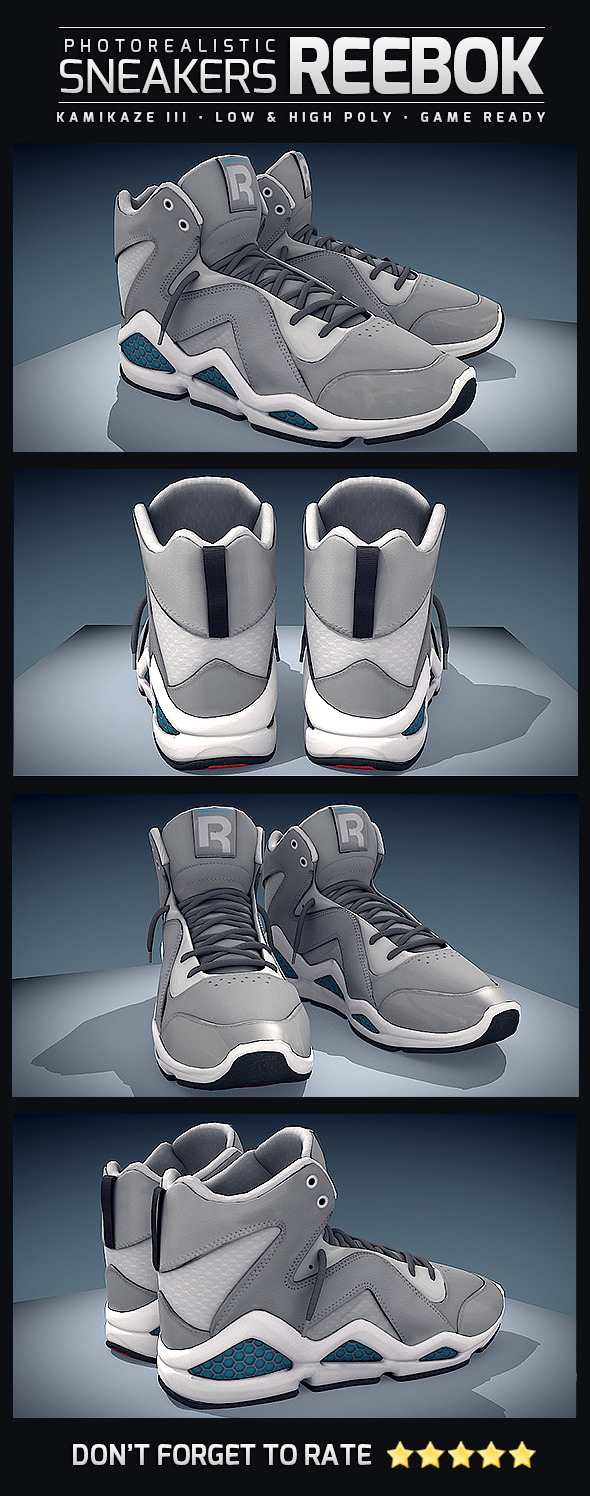 Sneakers Reebok Kamikaze - Photorealistic - 3DOcean Item for Sale