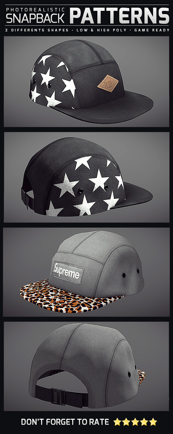 Snapback Patterns - Photorealistic - 3DOcean Item for Sale