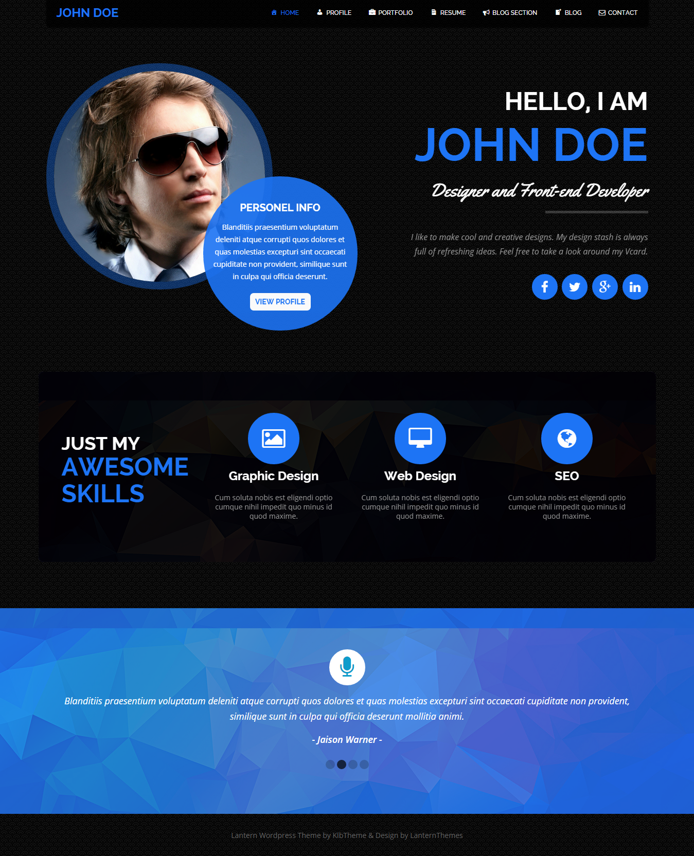 lantern personal resume and portfolio theme. Resume Example. Resume CV Cover Letter