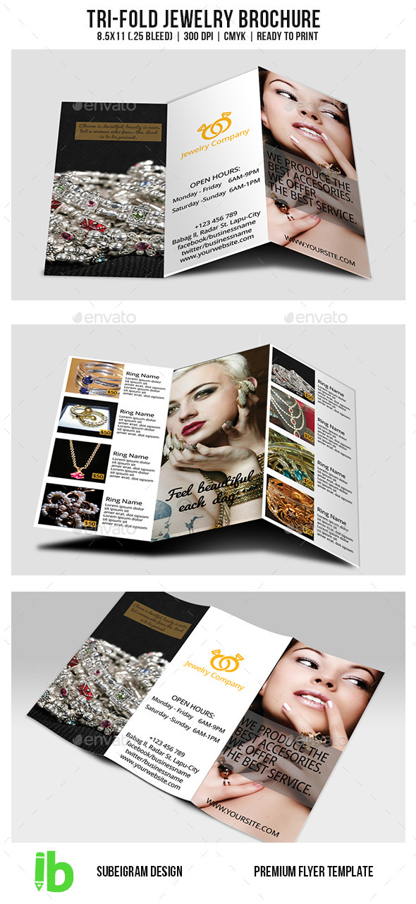 TriFold Jewelry Brochure By Subeigram  Graphicriver