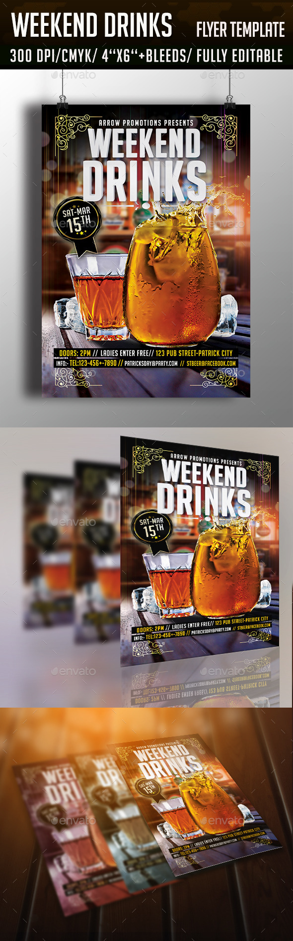 Weekend Drinks Cocktail Night Flyer - Clubs & Parties Events