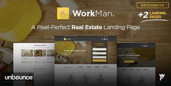WorkMan - Real Estate and Construction Unbounce Landing Page Template - Unbounce Landing Pages Marketing