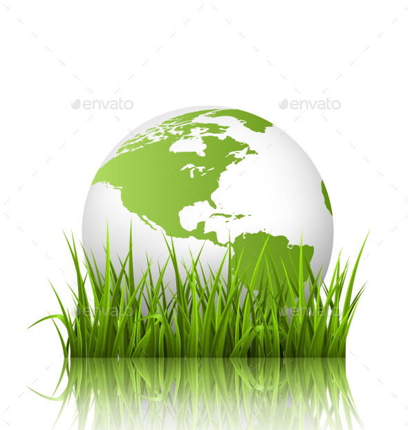 Green Planet Icon with Globe and Grass - Nature Conceptual