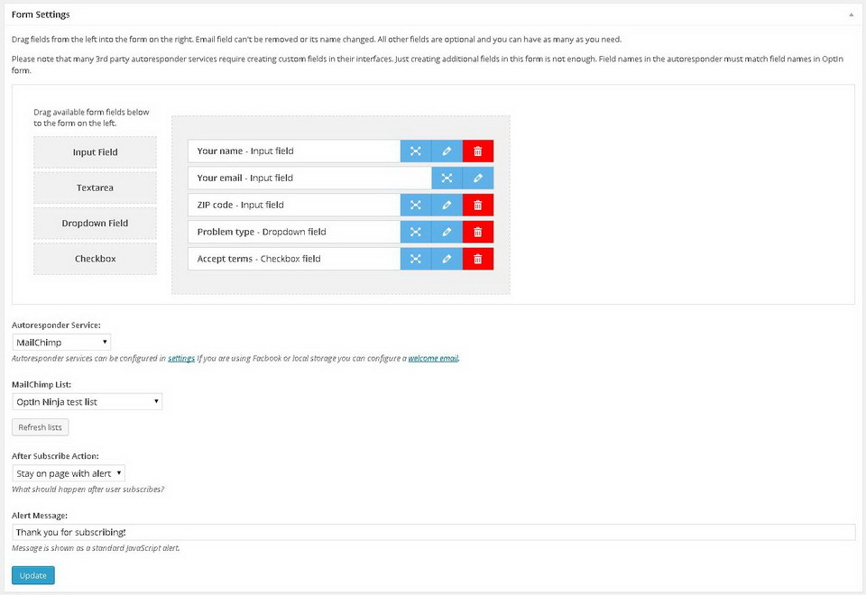 Custom Form Fields add-on for OptIn Ninja - Custom Form Fields add-on for OptIn Ninja - just drag and drop form fields to create a custom form that fits your needs.