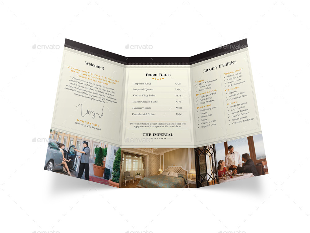 hotel trifold brochure by mike pantone