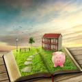 Home savings financial concept. Piggy bank magic book house - PhotoDune Item for Sale