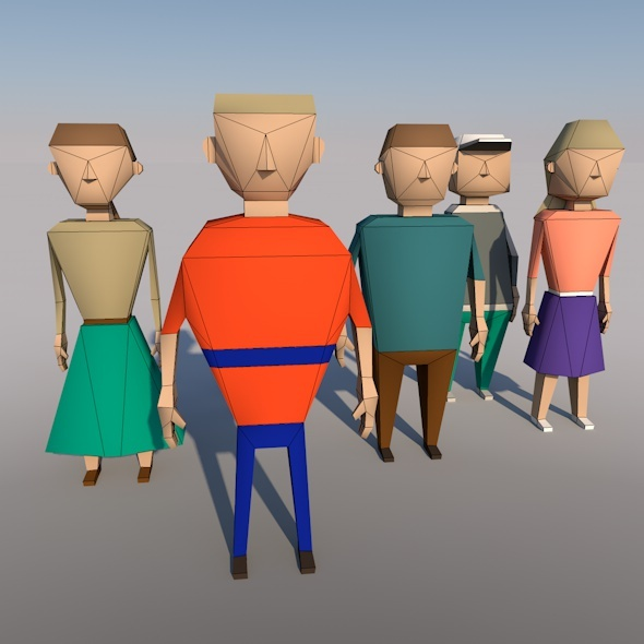 Low-poly models people