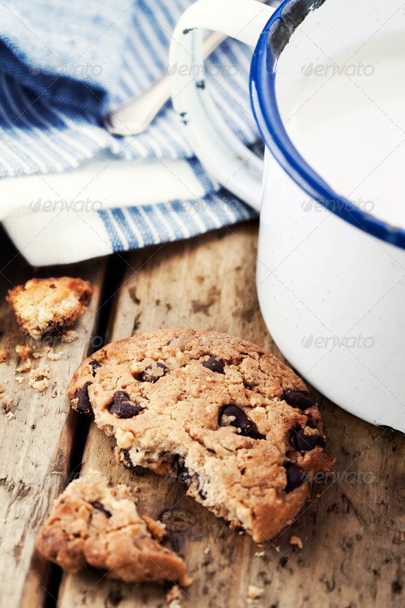 Milk and cookies - Stock Photo - Images