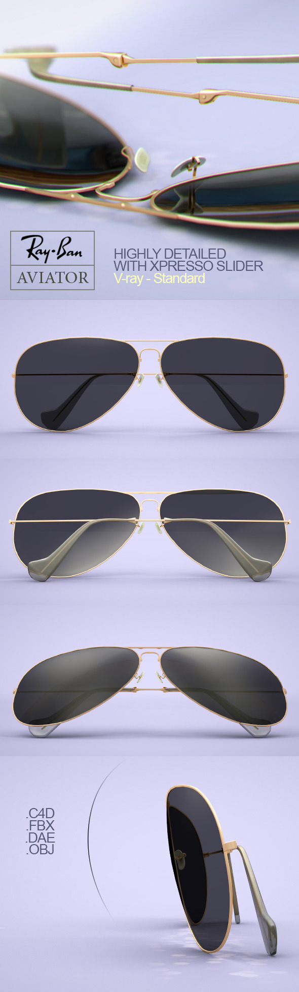 Rayban Aviator Sunglasses - 3DOcean Item for Sale