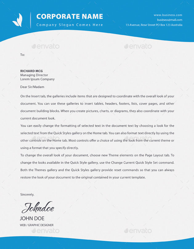 corporate letter head by amirgraphix graphicriver
