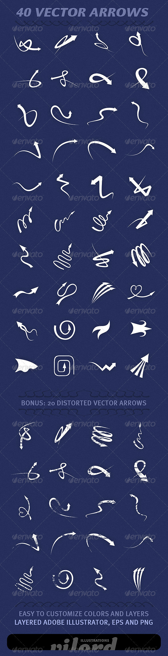 40 Vector Arrows - Flourishes / Swirls Decorative