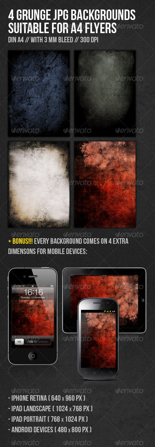 Grunge DIN A4 Flyer Backgrounds - Urban Backgrounds